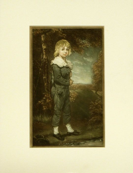 Pair of untitled prints - Boy in Blue / Girl in White. MEZZOTINT.
