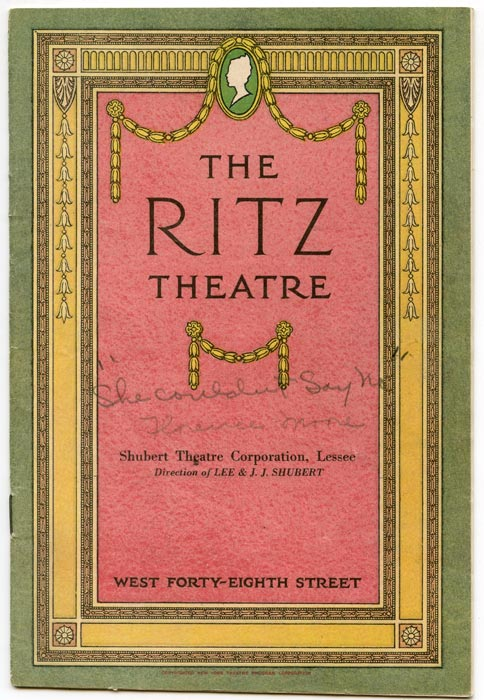 """Ritz Theatre. """"She Couldn't Say No"""" (Program). VINTAGE THEATRE PROGRAM, B. M. Starring Florence Moore Kaye."""