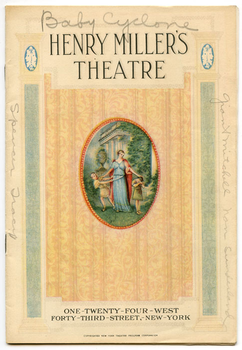 "Henry Miller's Theatre. ""The Baby Cyclone"" (Program). VINTAGE THEATRE PROGRAM, George M. Starring Grant Mitchell Cohan, Natalie Moorhead, Spencer Tracy."