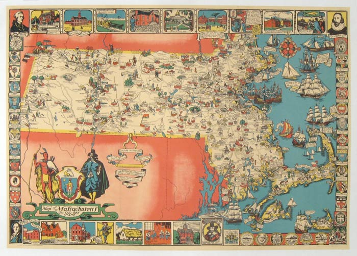 Map of Massachusetts The Old Bay State. A Picture History Map. MASSACHUSETTS.