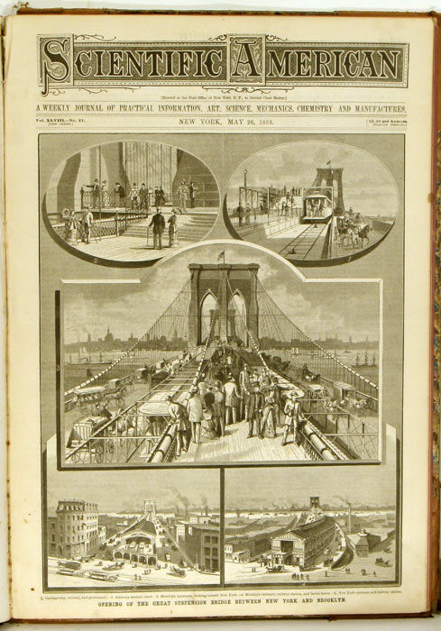 Scientific American. The Weekly Journal of Practical Information, Art, Science, Mechanics, Chemistry, and Manufactures. January 6, 1883 through June 30, 1883. NEW YORK / BRIDGES.