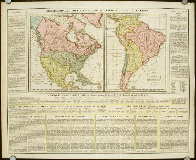 Geographical Map Of America.Geographical Historical And Statistical Map Of America North