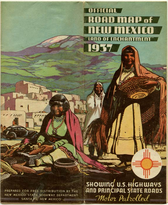 """Official Road Map of New Mexico """"Land of Enchantment"""" 1937. Showcasing U.S. Highways and Principal State Roads. Motor Patrolled. NEW MEXICO."""
