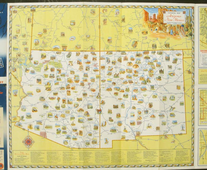 Map Of Arizona To Mexico.Arizona New Mexico With Southern Utah Pictorial Road Map By Arizona New Mexico On Oldimprints Com