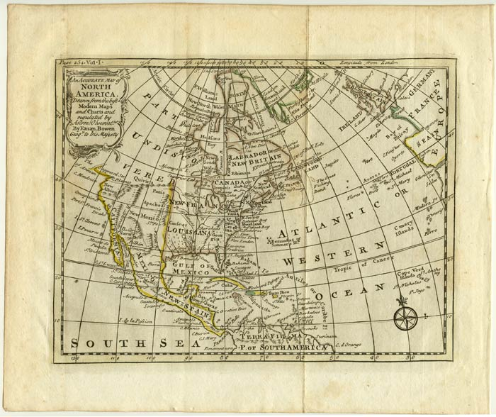 An Accurate Map of North America, Drawn from the best Modern Maps and Charts and regulated by Astron:l Observat.ns. NORTH AMERICAN CONTINENT.