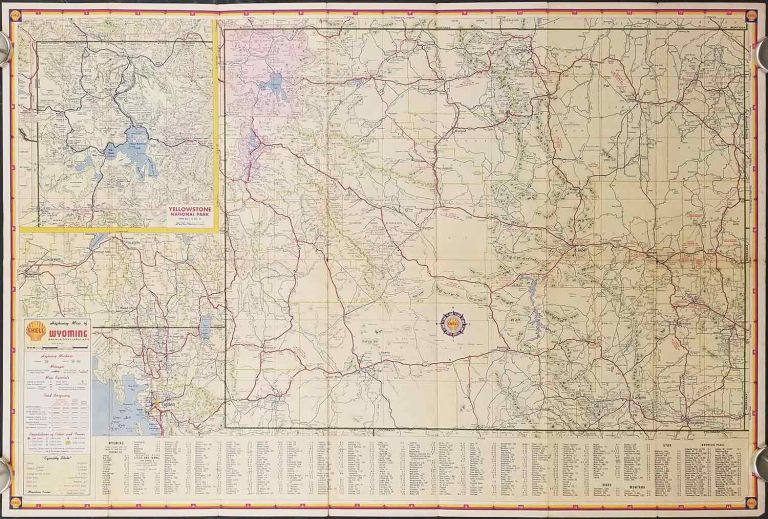 Shell Map of Wyoming. WYOMING - ROAD MAP.