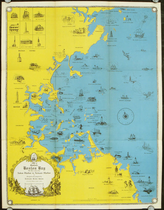 Map of Romantic Boston Bay. The Shore Line from Salem Harbor to Scituate Harbor. Designed and Compiled by Edward Rowe Snow. MASSASCHUSETTS - BOSTON.