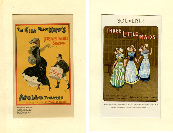 "Miniature Musical Comedy Posters circa 1903: ""The Girl from Kay's"" and ""Three Little Maids"" THEATRE."