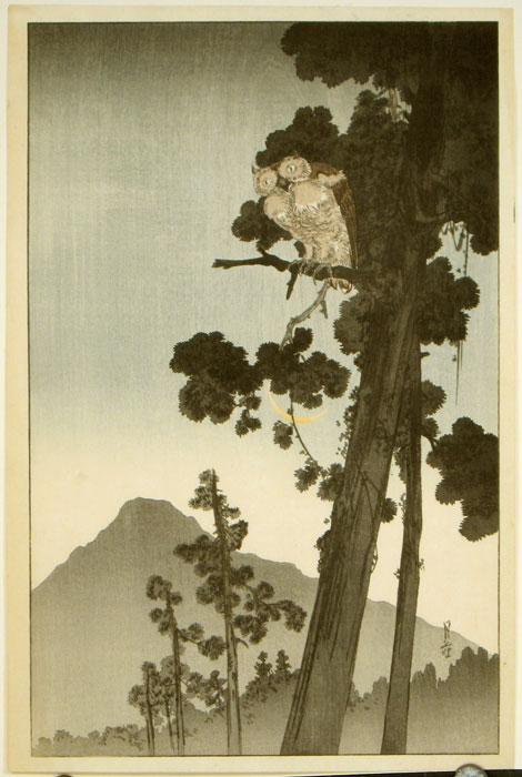 Untitled: Owl in the evening. GESSO YOSHIMOTO- JAPANESE WOODBLOCK PRINT.