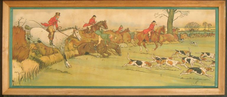 Pair of Fox Hunting Prints, framed. FOX HUNTING.