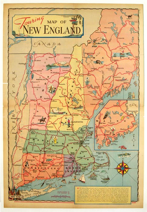 Touring Map of New England. NEW ENGLAND.