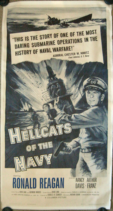 Hellcats of the Navy. Starring Ronald Reagan. MOVIE POSTER - RONALD REAGAN.