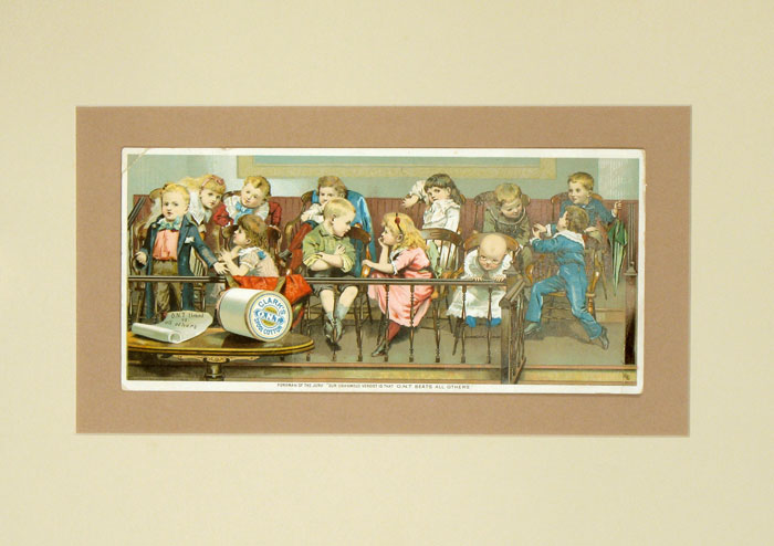 """Foreman of the Jury: """"Our Unanimous Verdict is That O.N.T. Beats All Others."""" CHROMOLITHOGRAPH - TRADE CARD."""