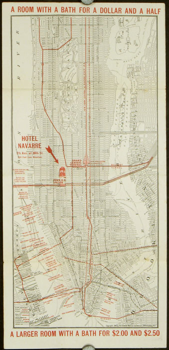 Map of New York. Places of Interest and General Information Concerning the City. Compliments of Navarre Hotel. NEW YORK - NEW YORK CITY.