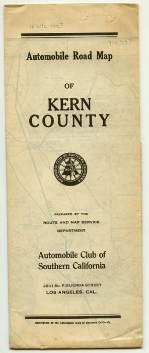Automobile Road Map of Kern County. CALIFORNIA - ROAD MAP.