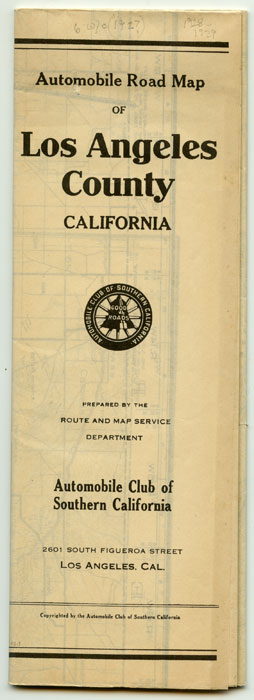 Automobile Road Map of Los Angeles County California. CALIFORNIA - LOS ANGELES - ROAD MAP.