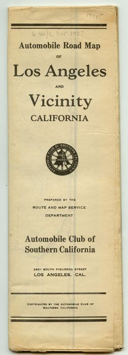 Automobile Road Map of Los Angeles and Vicinity California. CALIFORNIA - LOS ANGELES - ROAD MAP.