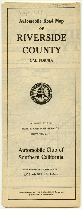 Automobile Road Map of Riverside County California. CALIFORNIA - ROAD MAP.