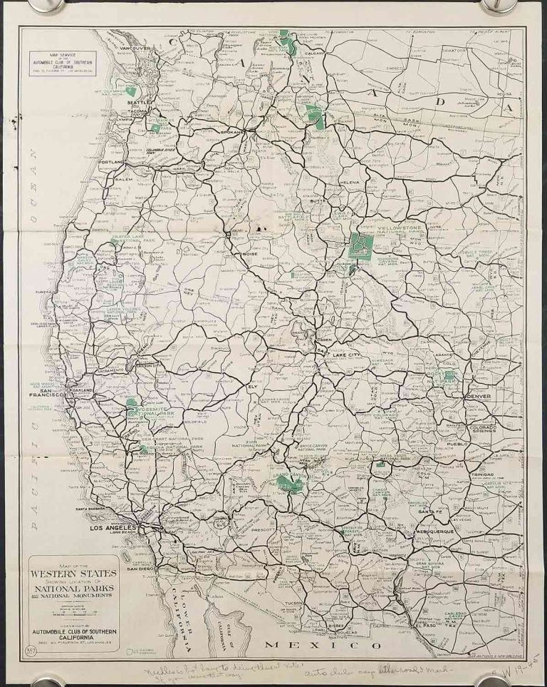 Automobile Road Map of the Western States Showing Location of ...
