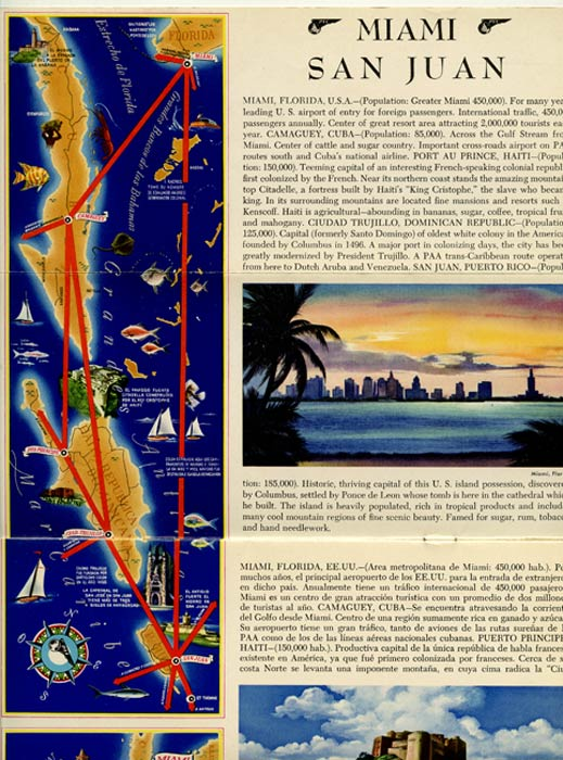 Flight Map. Pan American World Airways Latin American Division. The Caribbean. PAN AM - CARIBBEAN.