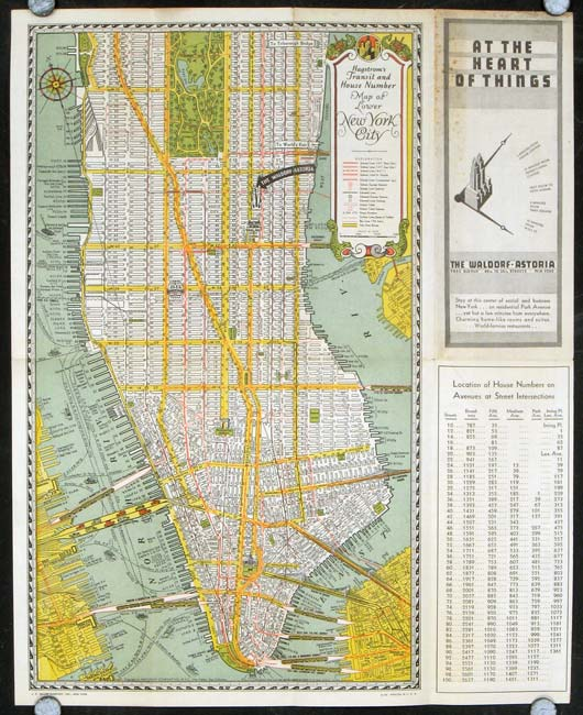 Hagstrom's Transit and House Number Map of Lower New York City. / At the Heart of Things The Waldorf-Astoria. NEW YORK - NEW YORK CITY.