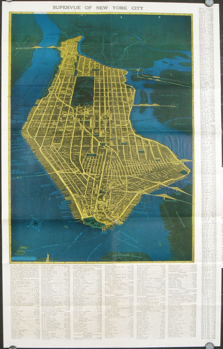 The Supervue of New York City Latest Illustrated Map in Colors Showing all Points of Interest, seen as if directly above each object. Also Map of the Five Boroughs of New York...Map title: Supervue of New York City. NEW YORK - NEW YORK CITY.