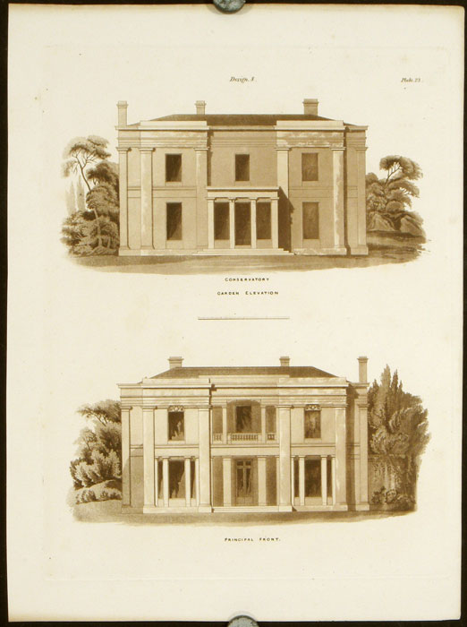 Design 8. Conservatory - Garden Elevation. Principal Front. BRITISH ARCHITECTURE - REGENCY, Francis Goodwin.