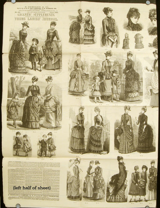 """Supplement to The Young Ladies' Journal, June 1884. No. 151. 1880s FASHION - """"GIGANTIC SUPPLEMENT"""""""