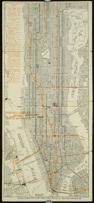 Map of New York Compliments of Hotel Herald Square. NEW YORK - NEW YORK CITY - SUBWAYS.
