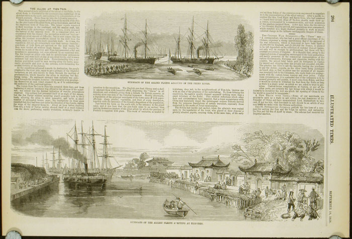 Gunboats of the Allied Fleets. TOGETHER WITH Procession of the Plenipotentiaries, and Ceremony of Signing the Treaty of Tien-Sin. CHINA - TIENSIN / TIANJIN - SECOND OPIUM WAR.