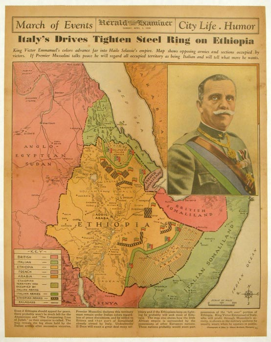 Italy's Drives Tighten Steel Ring on Ethiopia. Chicago Herald and Examiner. Sunday, April 5, 1936. ETHIOPIA.