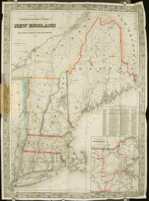 Railroad, Township & Distance Map of New England With Adjacent Portions of New York, Canada and New Brunswick. Cover title: G. Woolworth Colton's County & Township Railroad Map of New England Showing every Station &ct. MASSACHUSETTS / NEW HAMPSHIRE / VERMONT CONNECTICUT 1864 MAP.