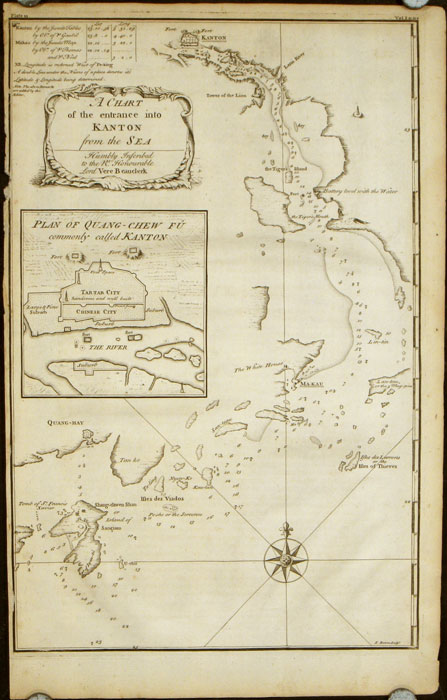 A Chart of the entrance into Kanton from the Sea. Humbly Inscribed to the Rt. Honourable Lord Vere Beauclerk. CHINA - CANTON / GUANGZHOU.
