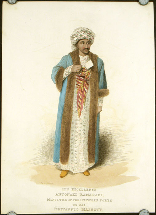 His Excellency Antonaki Ramadani, Minister of the Ottoman Porte to His Britannic Majesty. (Text sheet title: Grand Vizier). COSTUME - MILITARY - TURKEY / OTTOMAN EMPIRE.