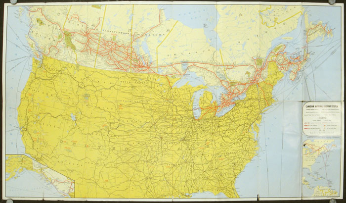 Canadian National Railways Tourist's Map of Canada and the United States. Map title: Canadian National Railway System. CANADIAN NATIONAL RAILWAYS.