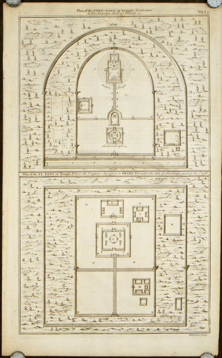 Plan of the Tyen-tang or Temple Dedicated to the Sovereign Lord of Heaven. Plan of the Ti-tang or Temple Where the Empero Sacrifices to Shang-ti under the title of Sovereign Lord of the Earth. / Plan of the Ti vang myau...Plan of the Que tse Kyen. CHINA - BEIJING - TEMPLES.