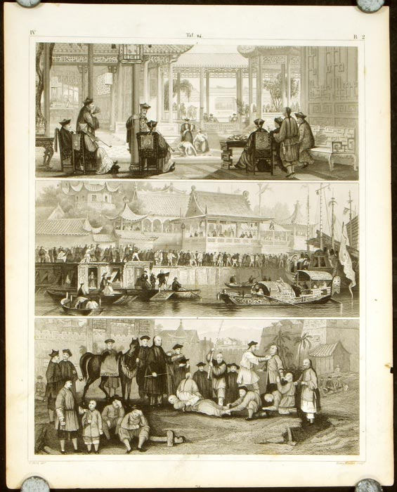 Untitled scenes in China. PAIR OF ENGRAVINGS. CHINA - MEDICINE / PUPPETS.
