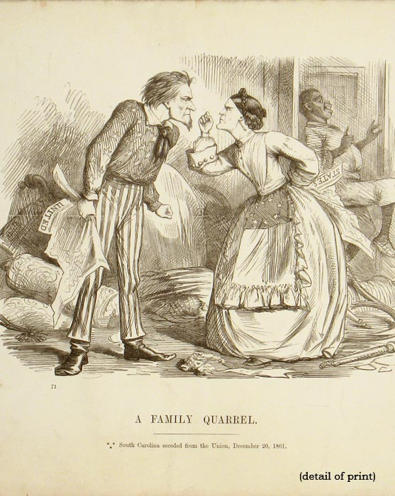 A Family Quarrel. South Carolina seceded from the Union, December 20, 1861. CIVIL WAR / POLITICAL CARTOON.