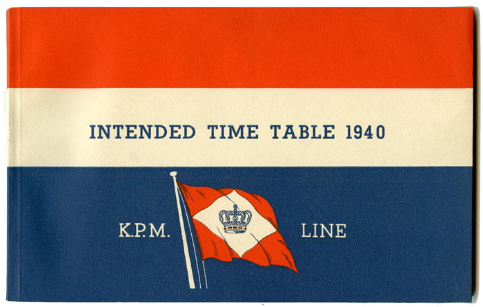 Intended Time Table for the year 1940. of the K. P. M. Line. (N. V. Kononklijke Paketvaart Maatschappij). KPM LINE.