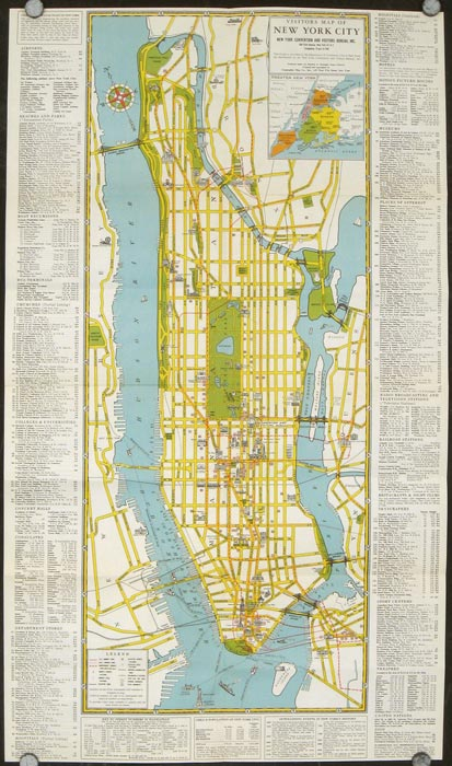 Visitors Guide to New York. The Greatest All Year Round Vacation City. Map title: Visitors Map of New York City. NEW YORK - NEW YORK CITY.