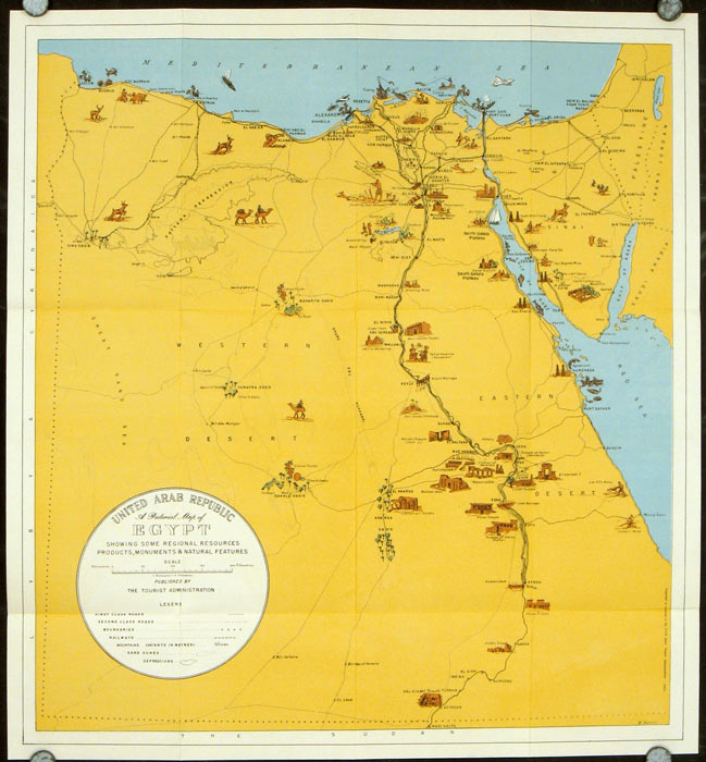 Welcome to Egypt U. A. R. Map title: United Arab Republic. A Pictorial Map of Egypt Showing Some Regional Resources Products, Monuments & Natural Features. EGYPT.