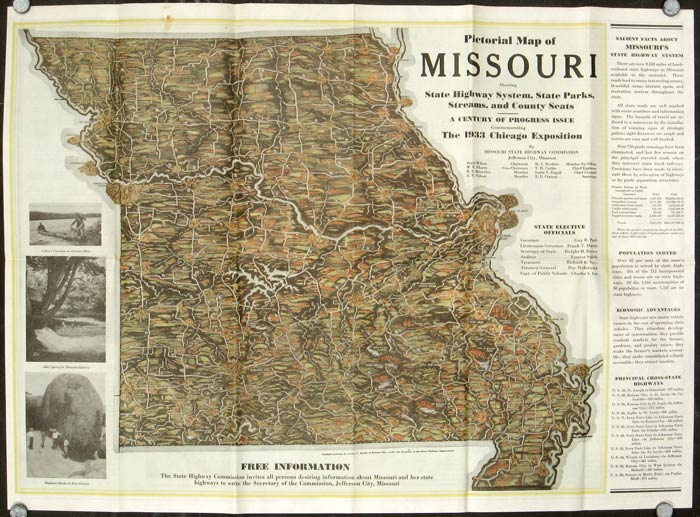 A Pictorial Map of Missouri Showing State Highway Systems, State Parks, Streams, and County Seats. A Century of Progress Issue Commemorating The 1933 Chicago Exposition. MISSOURI.