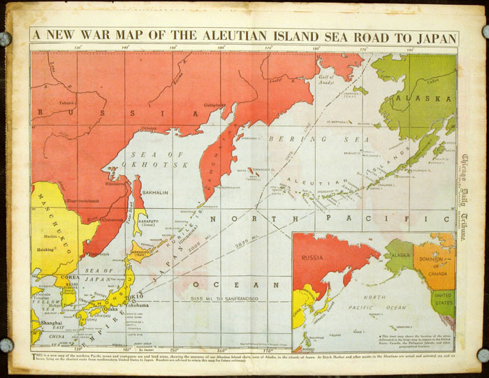 A New War Map of the Aleutian Island Sea Road to Japan. Published in the Chicago Daily Tribune, Wednesday, January 28, 1942. ALASKA - JAPAN - ALEUTIAN ISLANDS / WORLD WAR II.