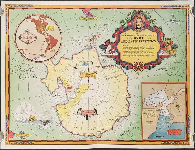 Authorized Map of the Second Byrd Expedition. ANTARCTICA.