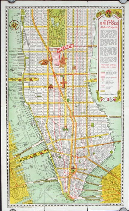 Map of New York. Hotel Bristol. Map title: Hotel Bristol's Motorists Guide. NEW YORK - NEW YORK CITY.