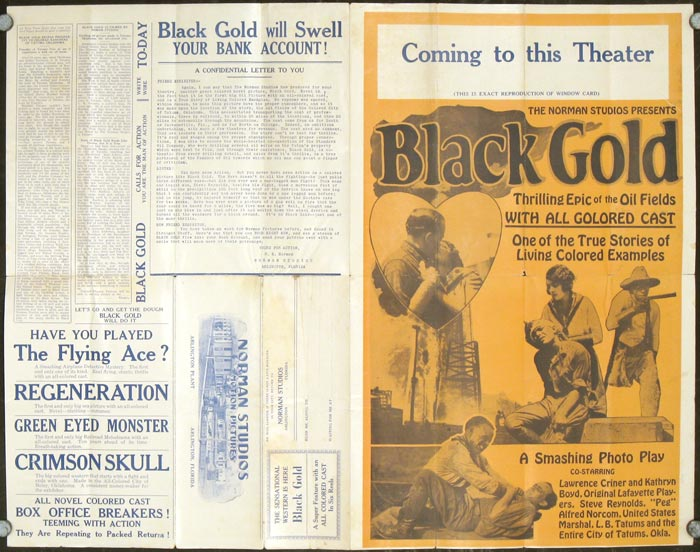 Black Gold. A Super Feature with an all colored caste in Six Reels. MOVIES / AFRICAN AMERICANA.