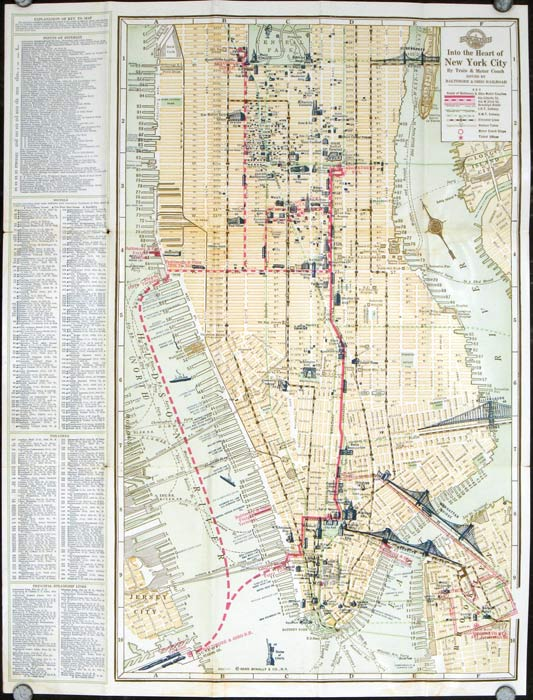 A Guide to and from New York. From the Trainside to the Metropolis via Motor Coach. Map title: Into the Heart of New York City. NEW YORK - NEW YORK CITY.