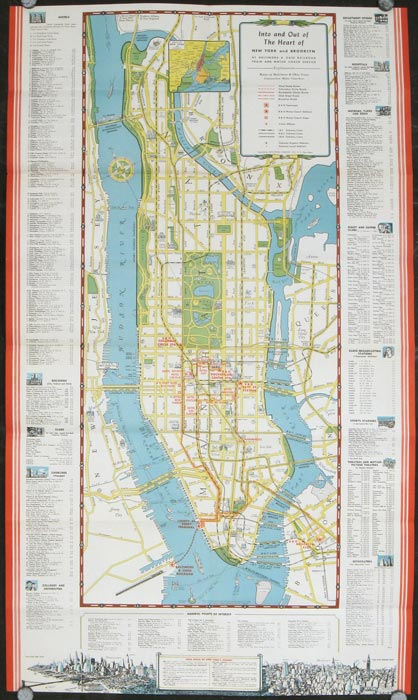 New York City Travel Guide. Map title: Into and Out of the Heart of New York and Brooklyn. NEW YORK - NEW YORK CITY.