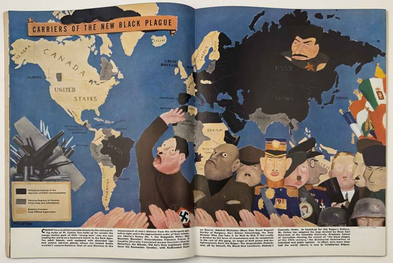 """Ken. The Insider's World. April 7th. 1938. VOLUME 1, NUMBER 1. [COLOR PICTORIAL MAP """"Carriers of the New Black Plague""""]. ERNEST WORLD WAR II MAP - HEMINGWAY."""