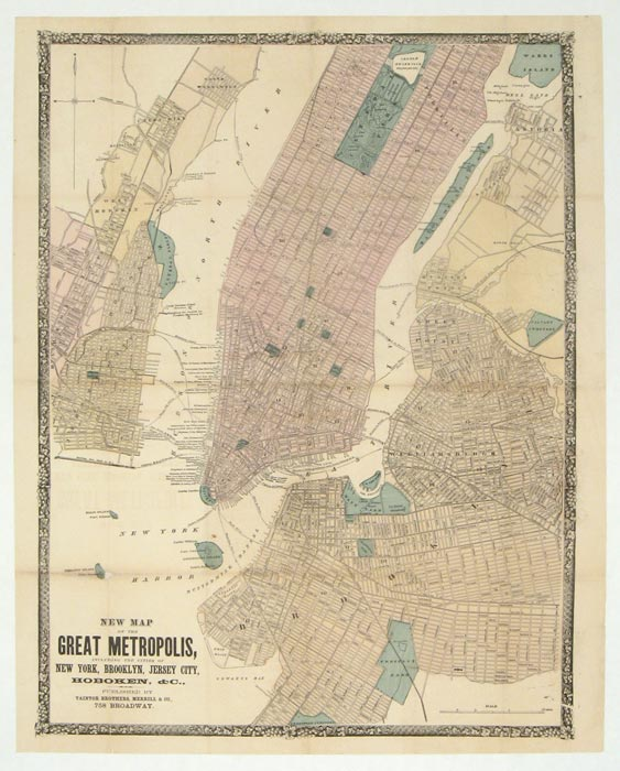 New Map of the Great Metropolis, including the cities of New York, Brooklyn, Jersey City, Hoboken, &c. NEW YORK - NEW YORK CITY.
